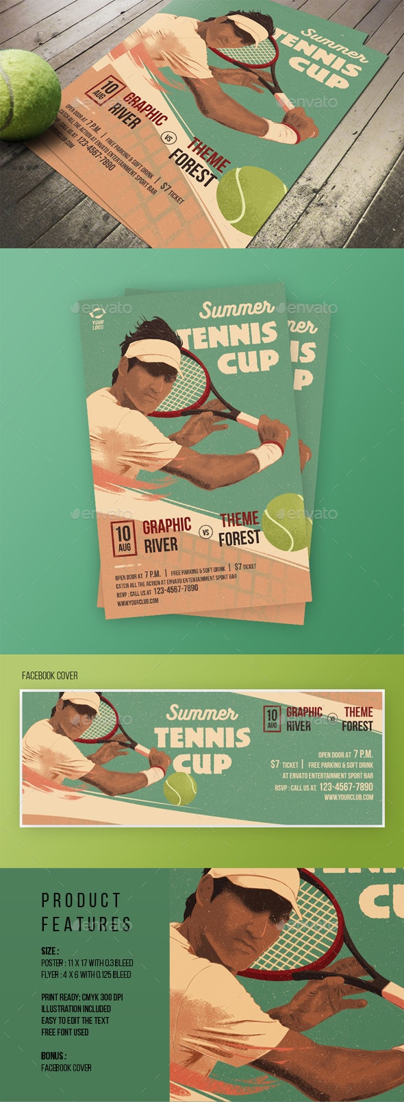 Tennis Match Flyer Poster - Sports Events