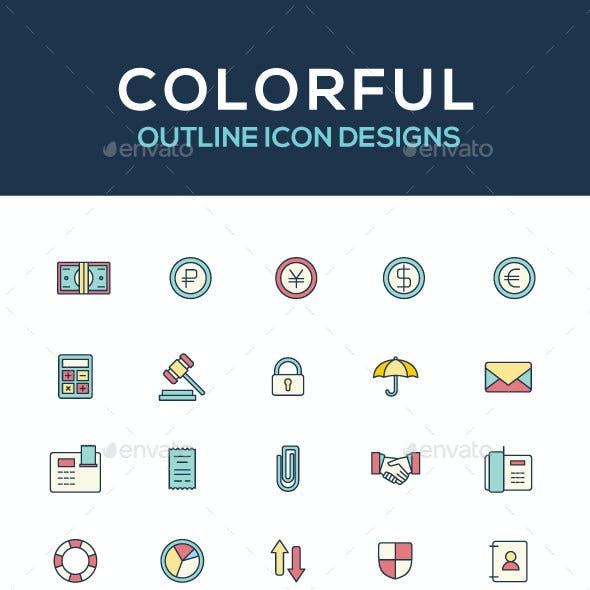 Icon set, Colorful icon designs, outline icons