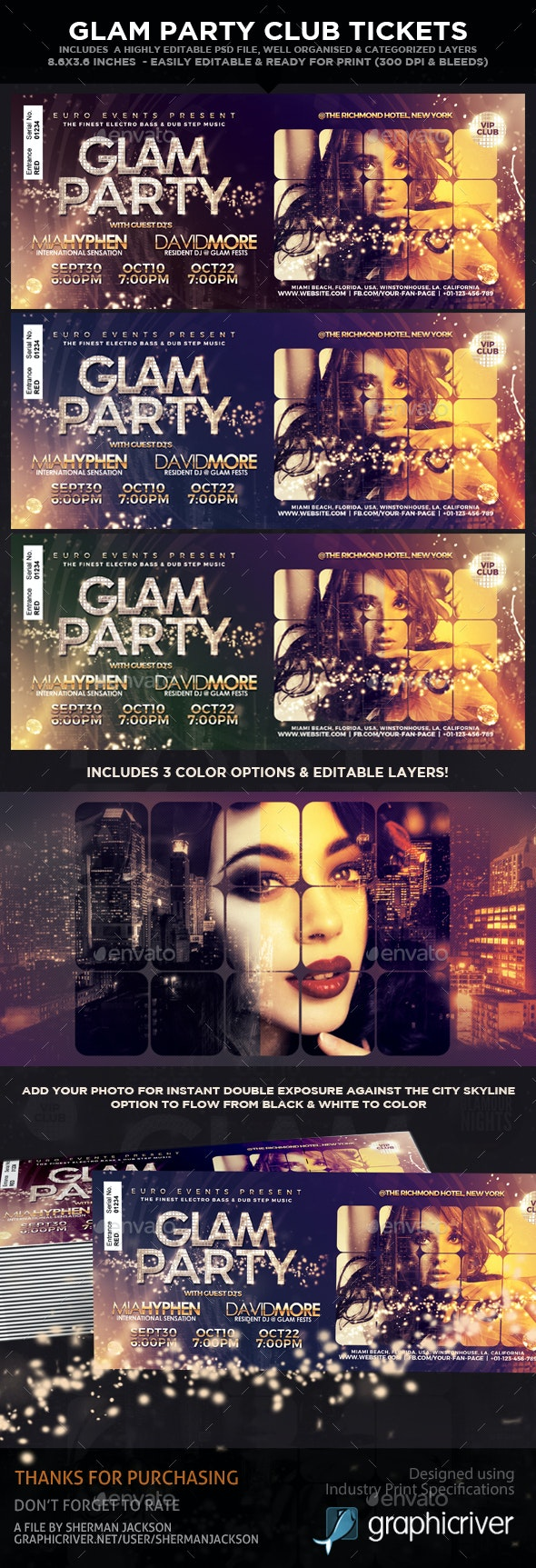 Glam Party & Club Event Tickets & Passes - Miscellaneous Print Templates