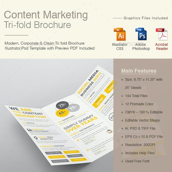 Content Marketing Tri-fold Brochure
