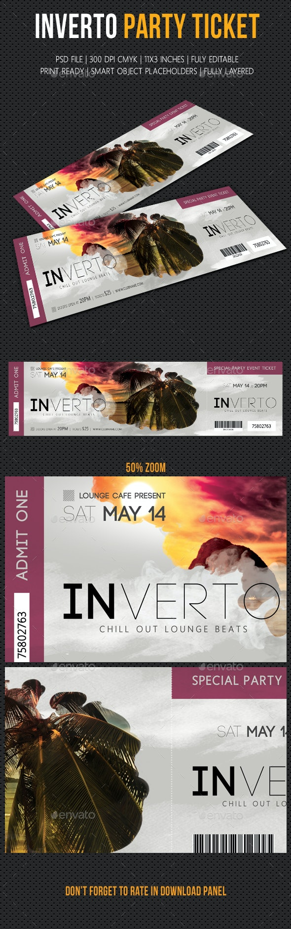Inverto Party Event Ticket - Cards & Invites Print Templates