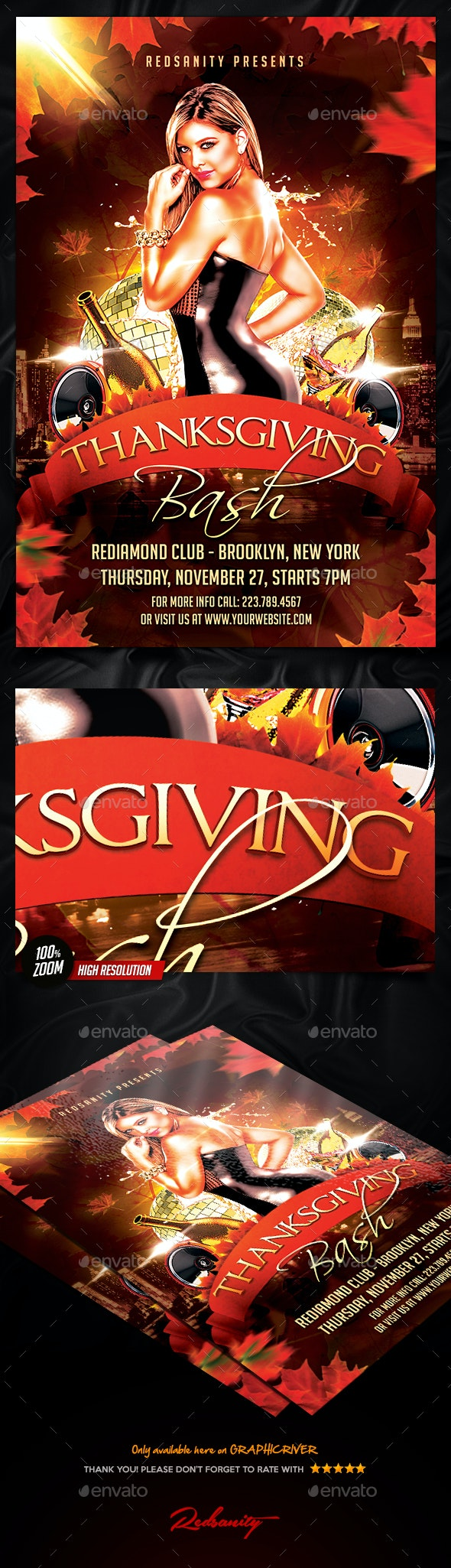 Thanksgiving Bash Flyer - Holidays Events