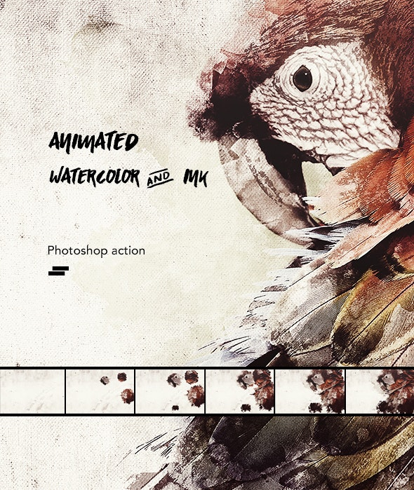 Gif Animated Watercolor and Ink Effect Photoshop Action - Photo Effects Actions