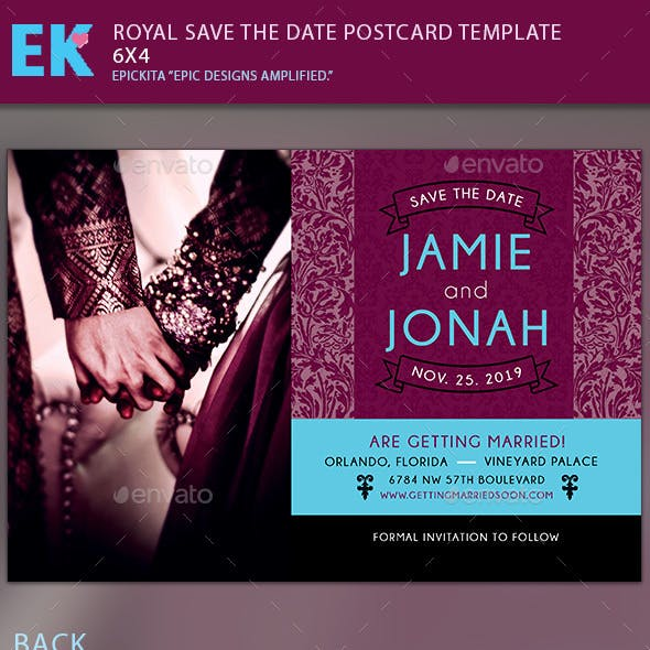 Royal Save the Date Postcard Template