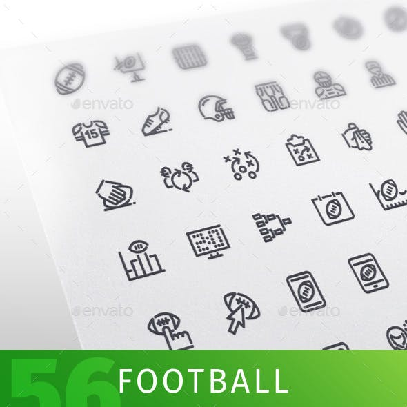 American Football Line Icons Set
