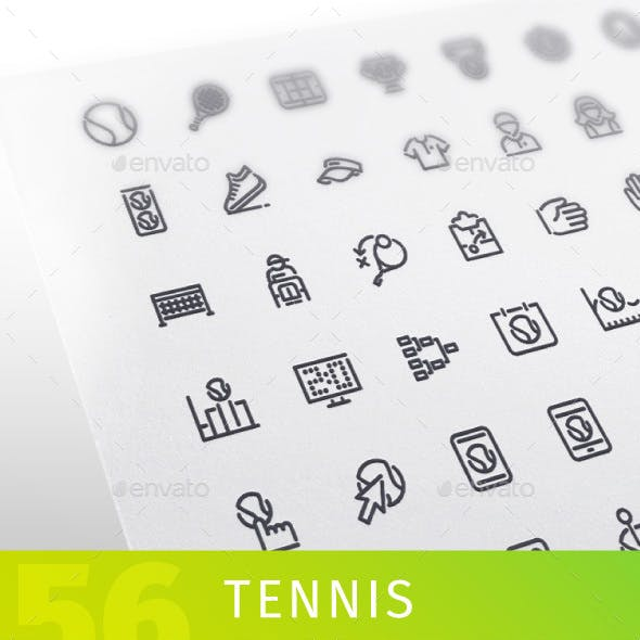 Tennis Line Icons Set