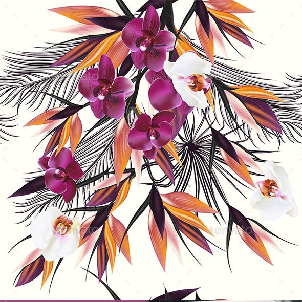 Seamless Pattern with Orchids and Palm Leafs