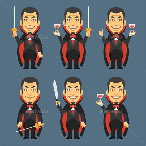 Vampire Holds Machete Sword Wine