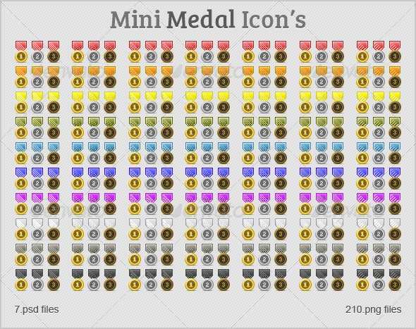 Mini Medal Icon's - Man-made objects Objects