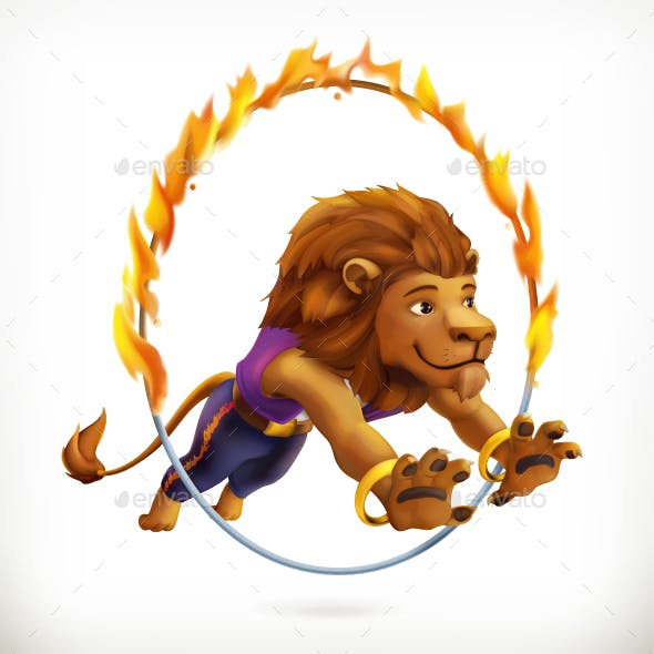 Circus Lion Jumping Through a Flaming Hoop