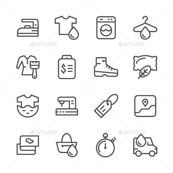 Set Line Icons of Laundry