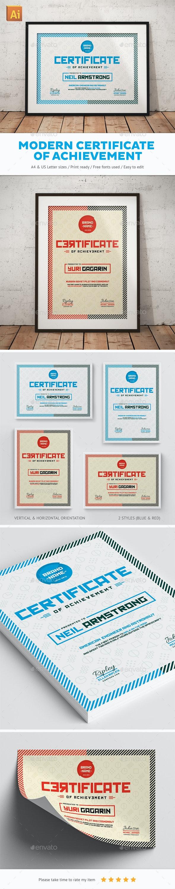 Modern Certificate Of Achievement - Certificates Stationery