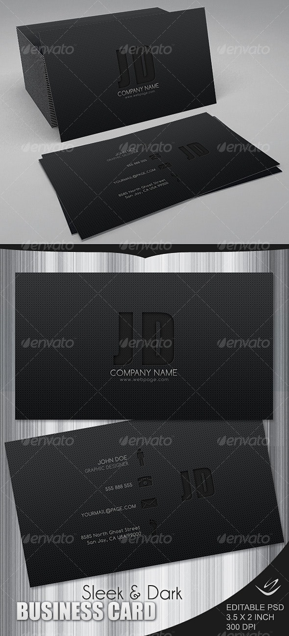 Sleek & Dark Business Card - Corporate Business Cards