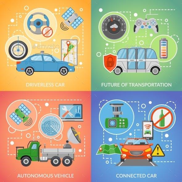 Driverless Car Autonomous Vehicle 2X2 Icons Set
