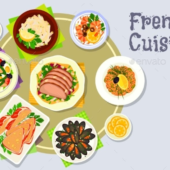French Cuisine Dinner Dishes Icon For Menu Design