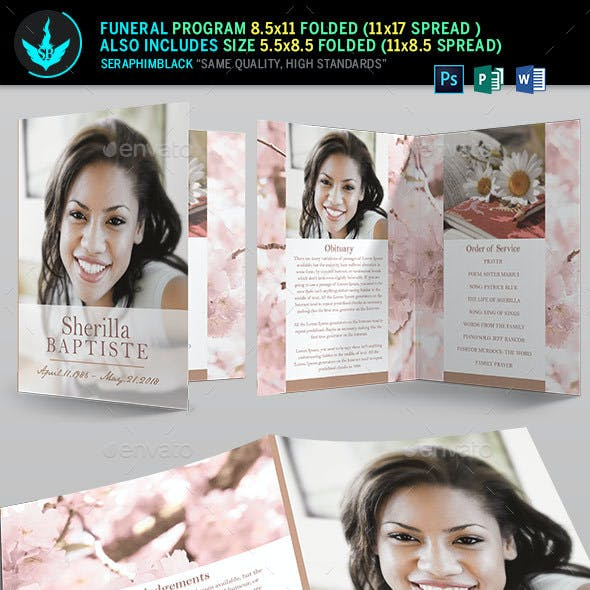 Cherry Funeral Program Template