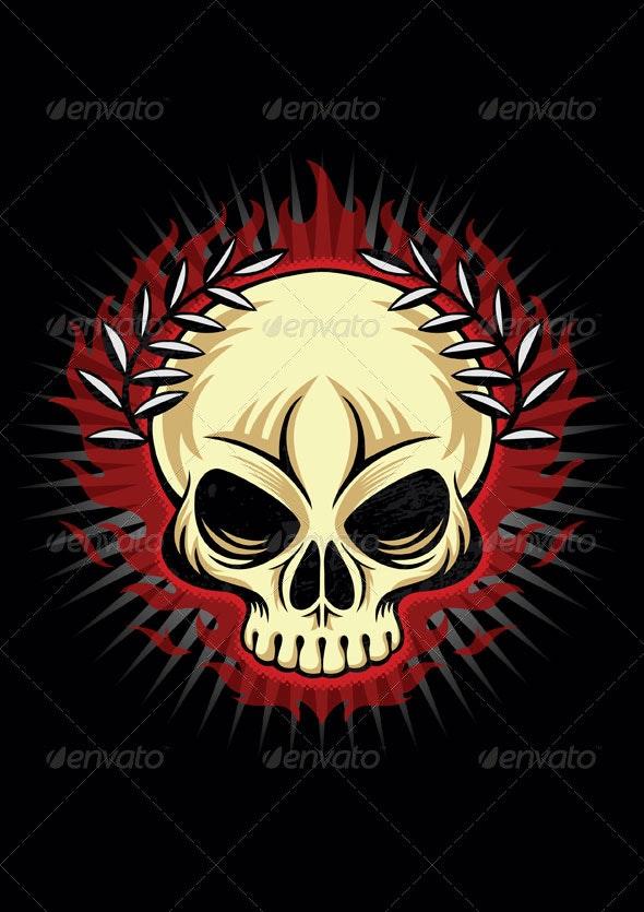 Flaming skull - Decorative Symbols Decorative