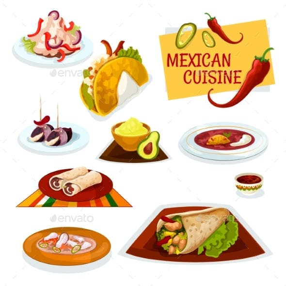 Mexican Cuisine Traditional Spicy Dishes Icon