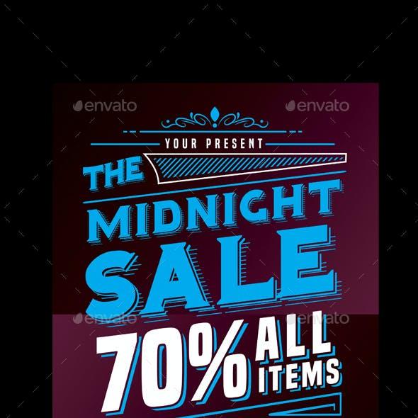 Midnight Sale Flyer Poster