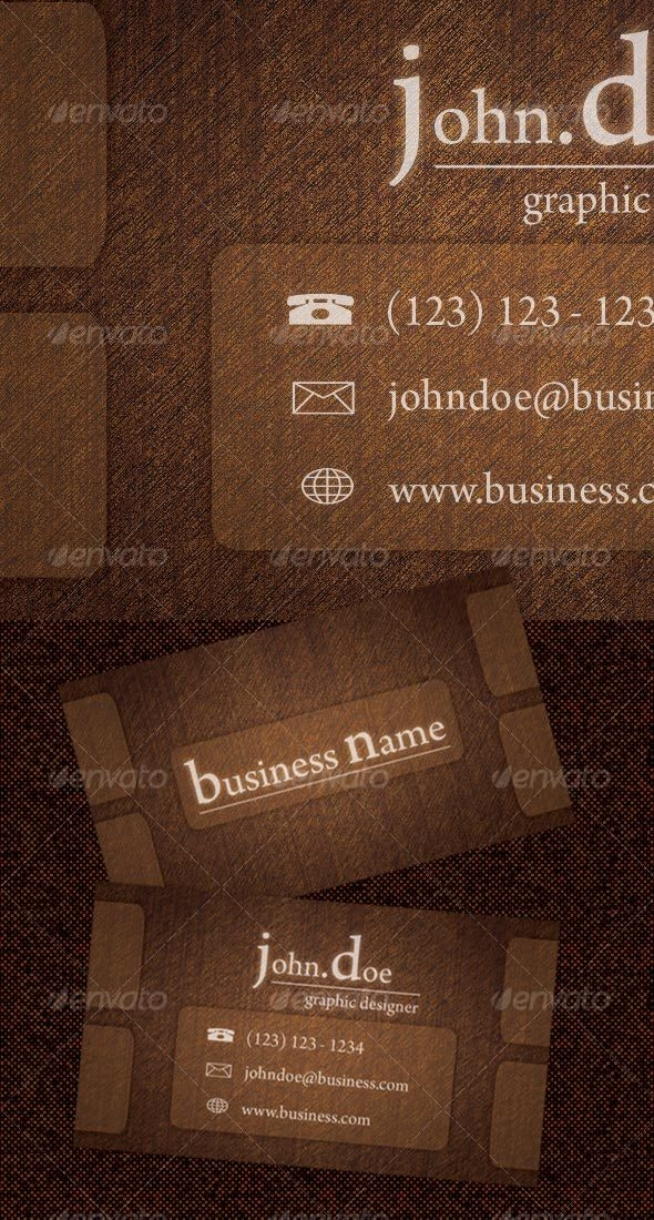'Rough Wood' Business Card - Retro/Vintage Business Cards