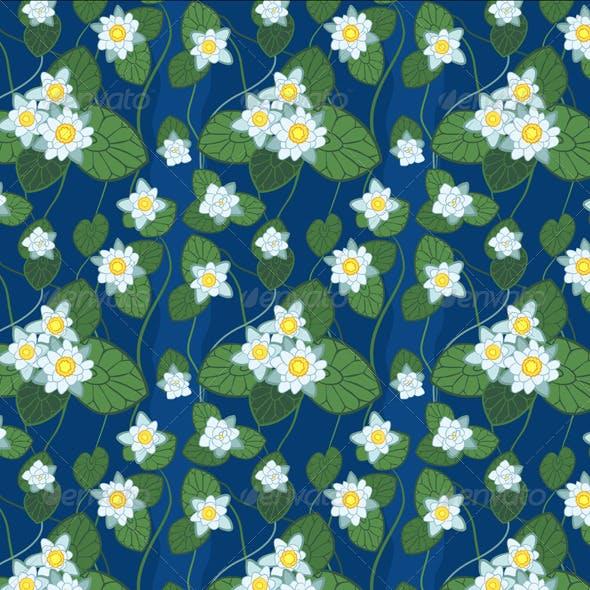 Seamless Blue Pattern of White Lotus