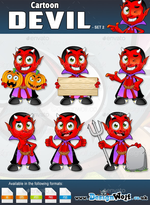 Cartoon Devil Character – Set 2 - Monsters Characters