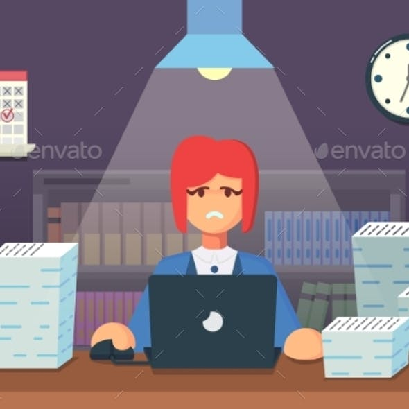 Funny Flat Cartoon Character. Tired Office Worker