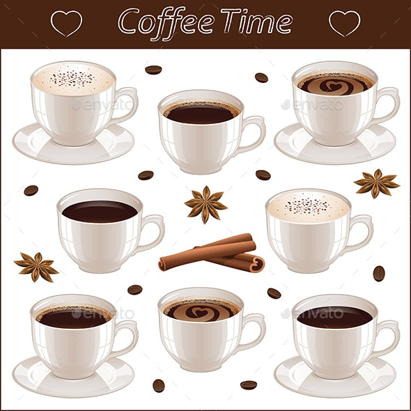 Set with Different Coffee Cups Isolated on White Background - Food Objects