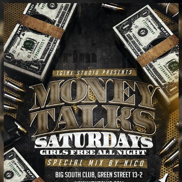 Money Talks Saturdays Party Flyer Template