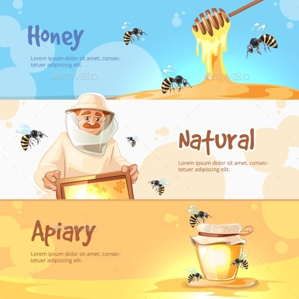 Vector Horisontal Banners Set Of Apiary Symbols