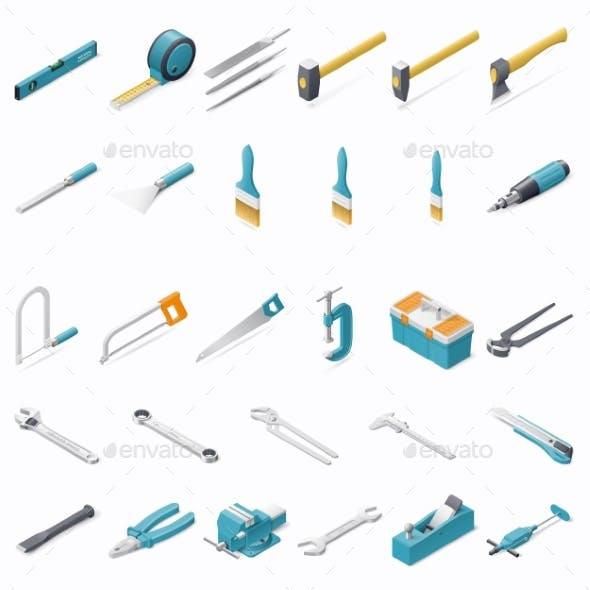 Building Hand Tools Icon Set