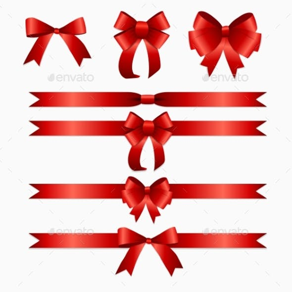 Red Ribbon and Bow Set for Birthday and Christmas