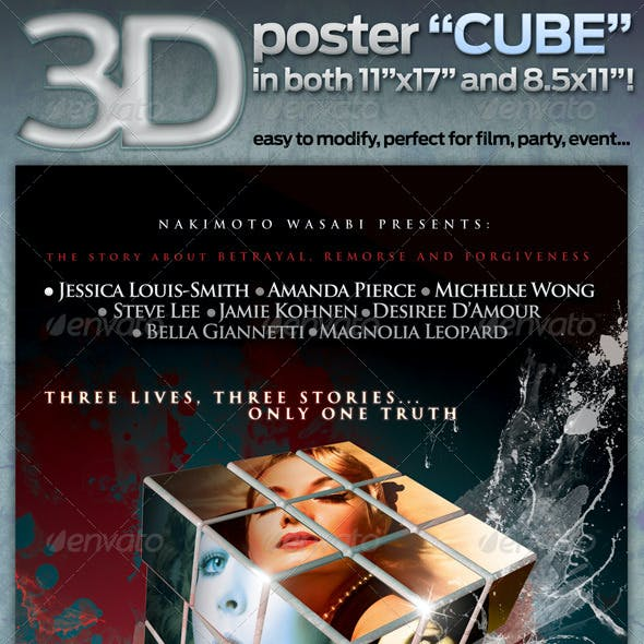 "3D poster ""CUBE"" in both, 11""x17"" AND 8.5""x11""!"