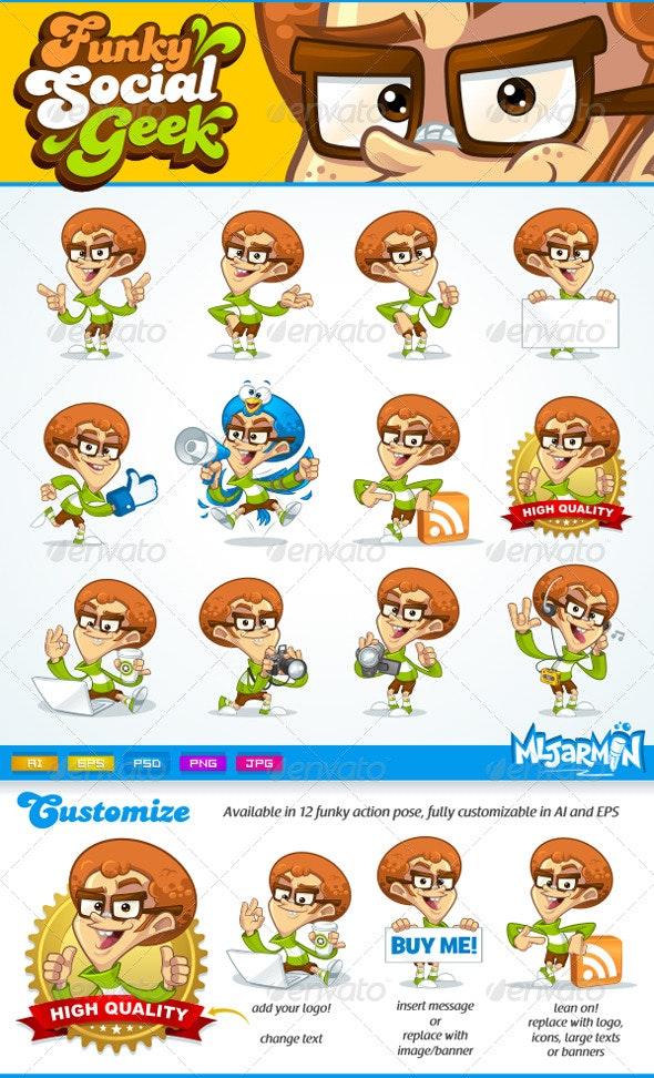 Funky Social Geek mascot - People Characters