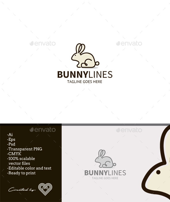Bunny Lines - Animals Logo Templates