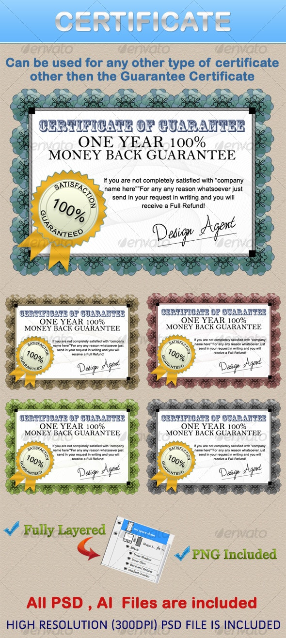 CERTIFICATE  - Miscellaneous Illustrations