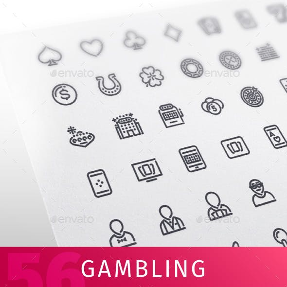 Casino Gambling Line Icons Set