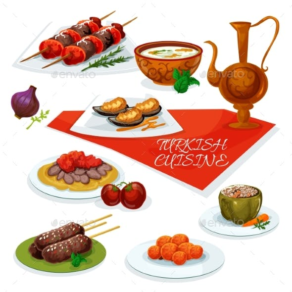 Turkish Cuisine Meat And Vegetable Dishes Icon