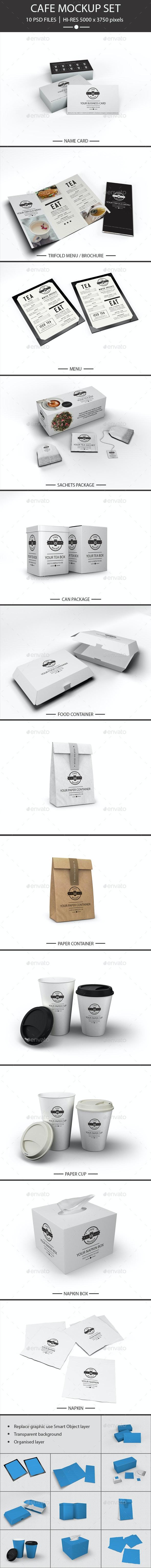 Cafe Restaurant Set Mockup - Product Mock-Ups Graphics