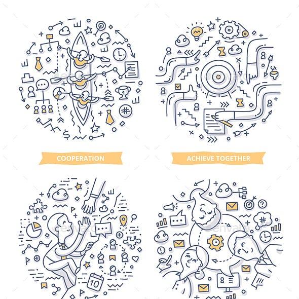 Teamwork Doodle Illustrations