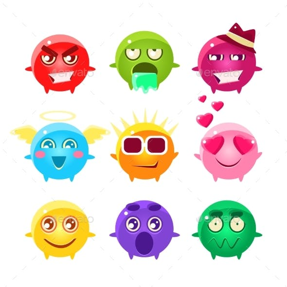 Collection Of Spherical Character Emoji Icons