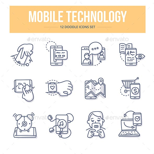 Mobile Technology Doodle Icons