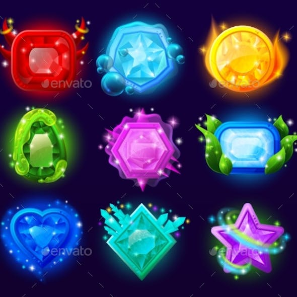 Computer Game Magic Gems Set