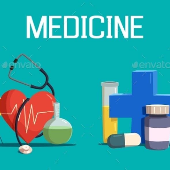 Syringe And Medicine Cross, Heart, Tablet