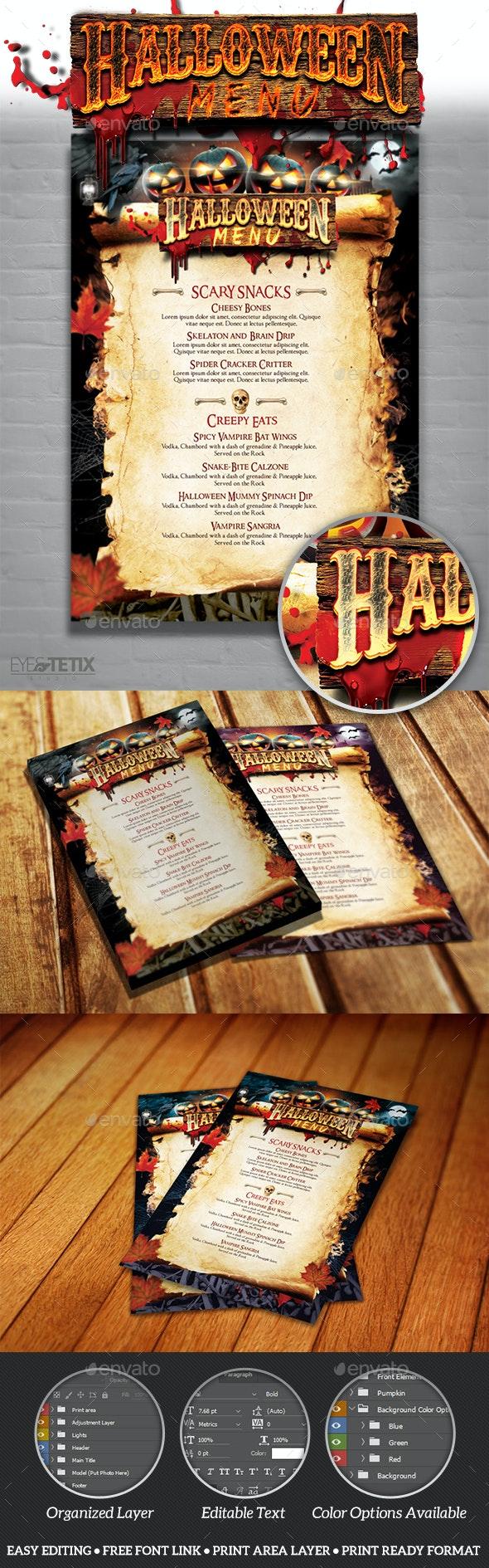 Halloween Party  Menu - Food Menus Print Templates
