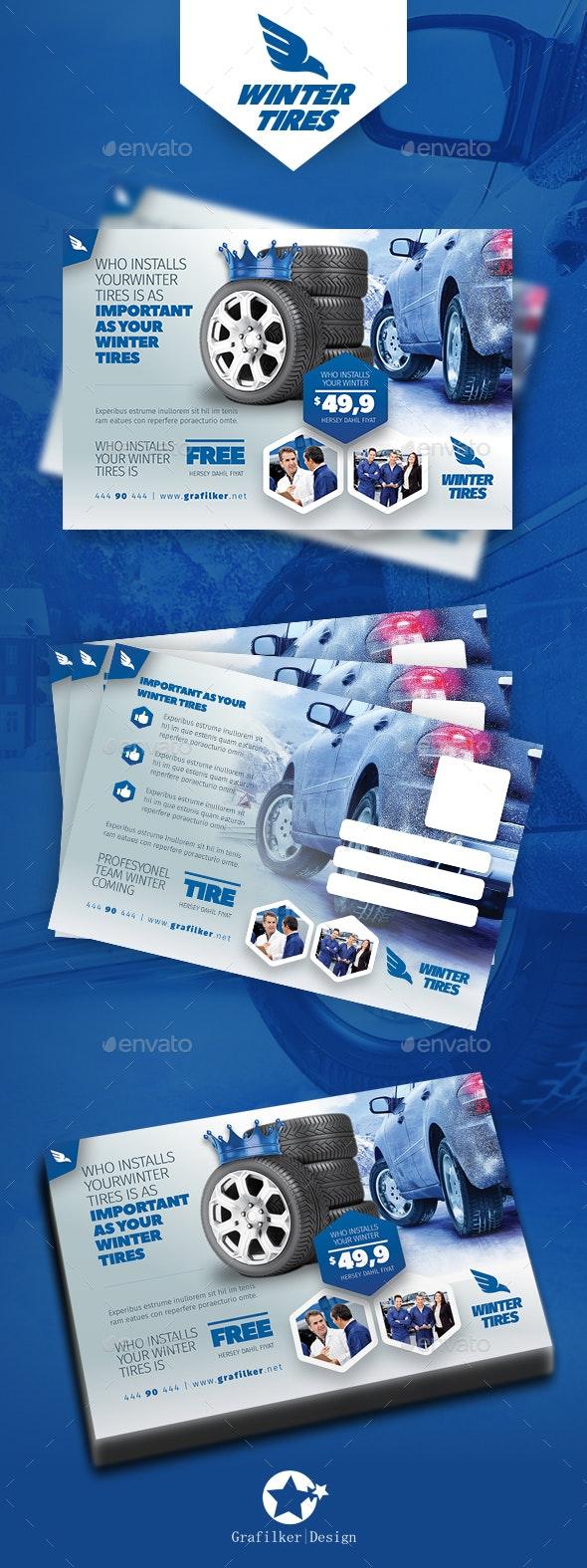 Automobile Tire Postcard Templates - Cards & Invites Print Templates