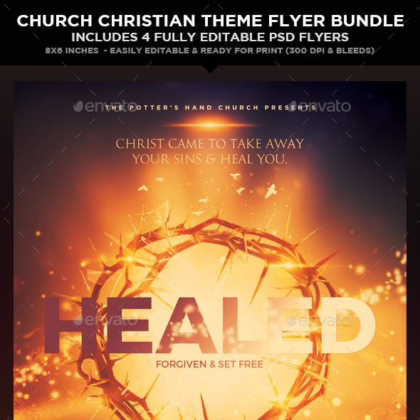 Church Christian Themed Event Flyers Bundle (5in1)