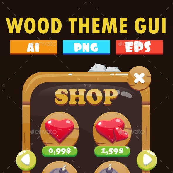 Wood Platformer GUI Pack