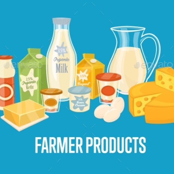 Farmer Products Banner With Dairy Composition