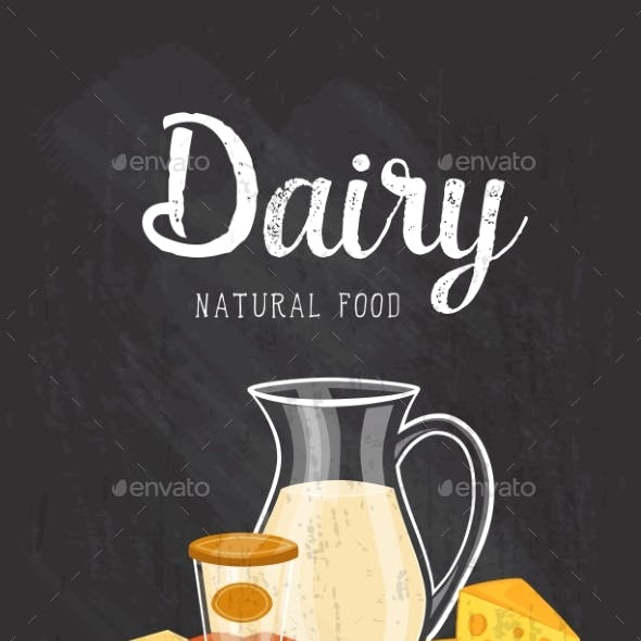 Natural Food Banner With Dairy Composition